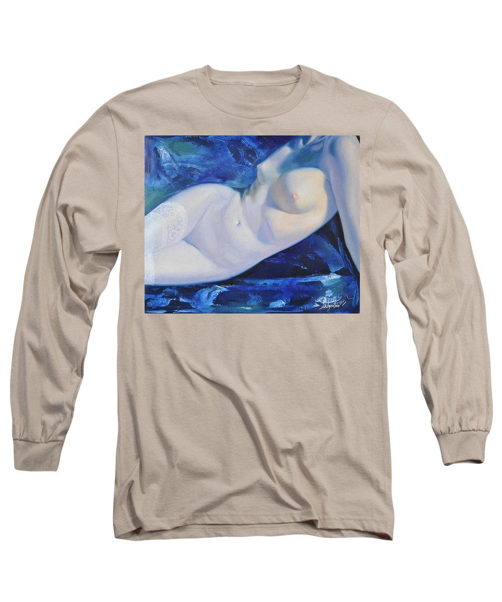 Art Long Sleeve T-Shirt featuring the painting The Blue Ice by Sergey Ignatenko