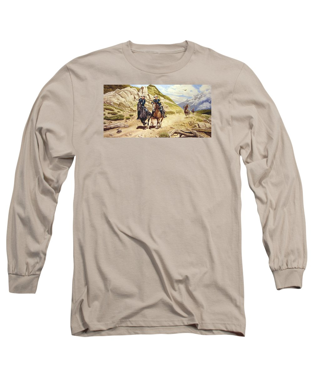 Western Long Sleeve T-Shirt featuring the painting The Chase by Marc Stewart