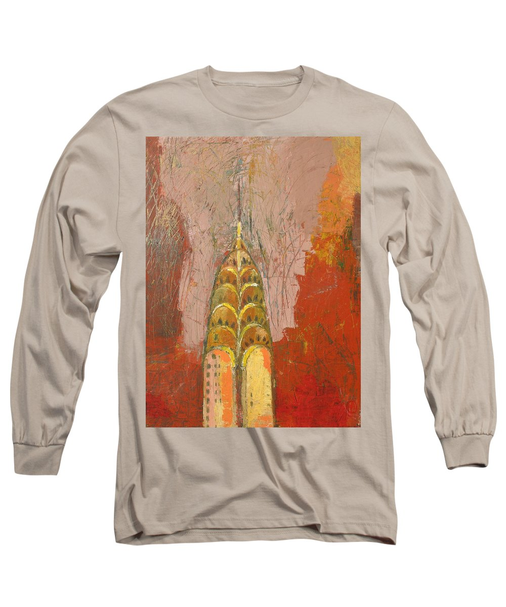 Abstract Cityscape Long Sleeve T-Shirt featuring the painting The Chrysler In Motion by Habib Ayat