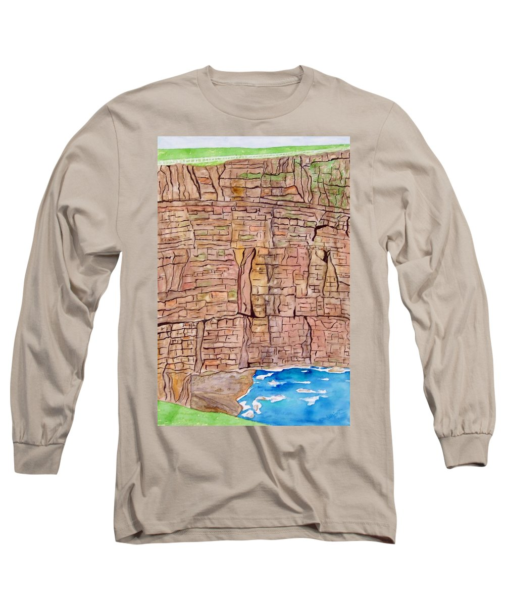 Ireland Art Long Sleeve T-Shirt featuring the painting The Cliffs Of Mohr In Ireland by Larry Wright
