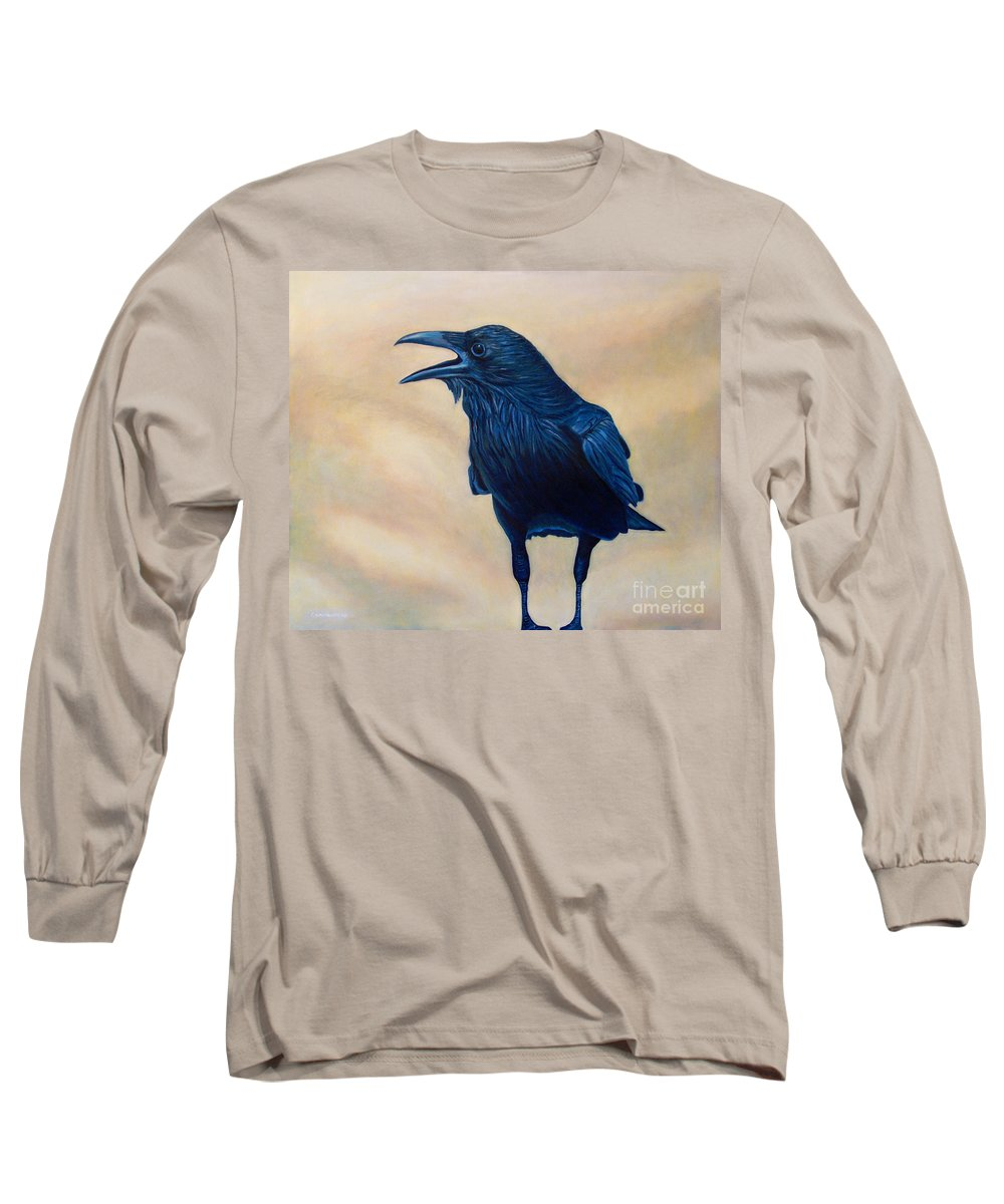 Raven Long Sleeve T-Shirt featuring the painting The Conversation by Brian Commerford