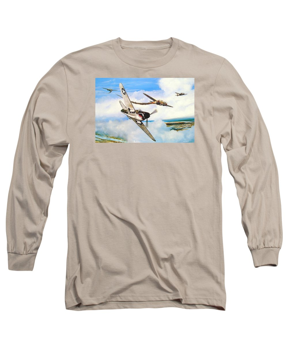 Military Long Sleeve T-Shirt featuring the painting The Day I Owned The Sky by Marc Stewart