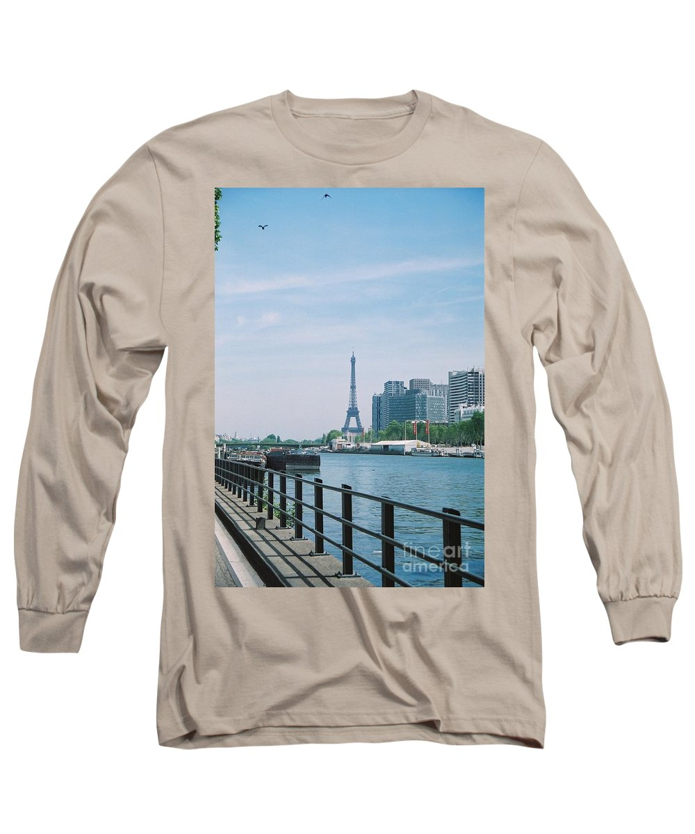 The Eiffel Tower Long Sleeve T-Shirt featuring the photograph The Eiffel Tower And The Seine River by Nadine Rippelmeyer
