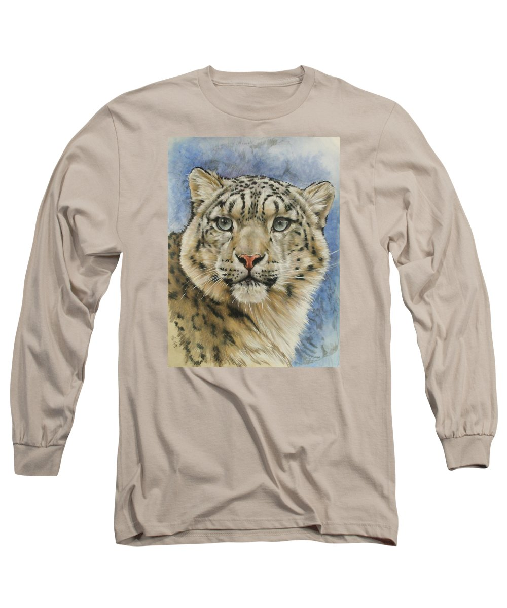 Snow Loepard Long Sleeve T-Shirt featuring the mixed media The Gaze by Barbara Keith