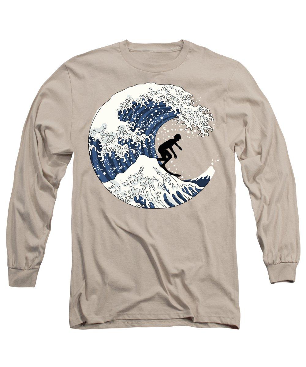 The Great Wave Off Kanagawa Long Sleeve T-Shirt featuring the digital art The Great Surfer Off Kanagawa by Julia Jasiczak