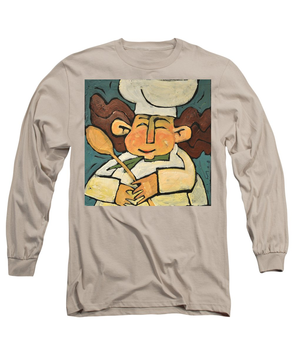 Chef Long Sleeve T-Shirt featuring the painting The Happy Chef by Tim Nyberg