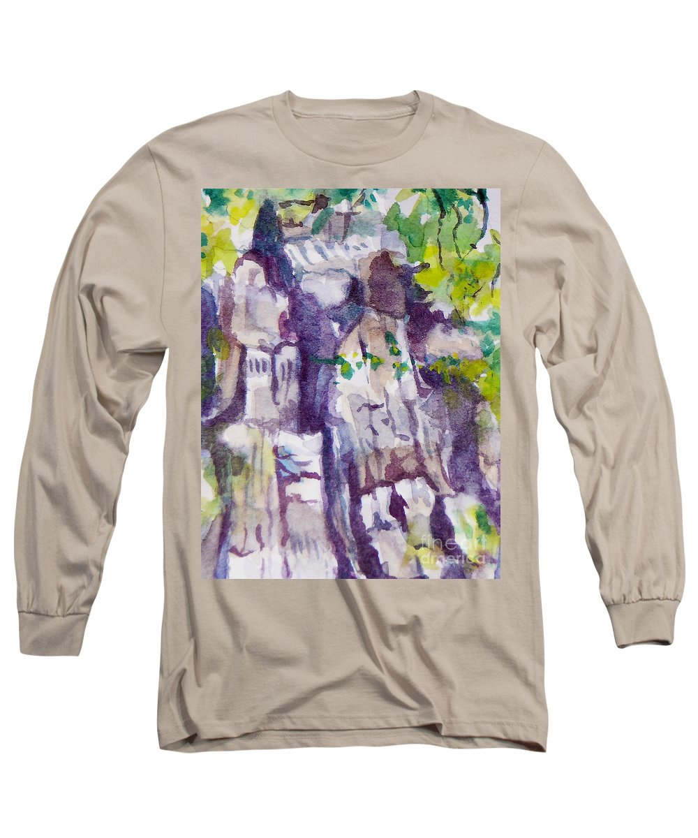 Purple Long Sleeve T-Shirt featuring the painting The Little Climbing Wall by Jan Bennicoff