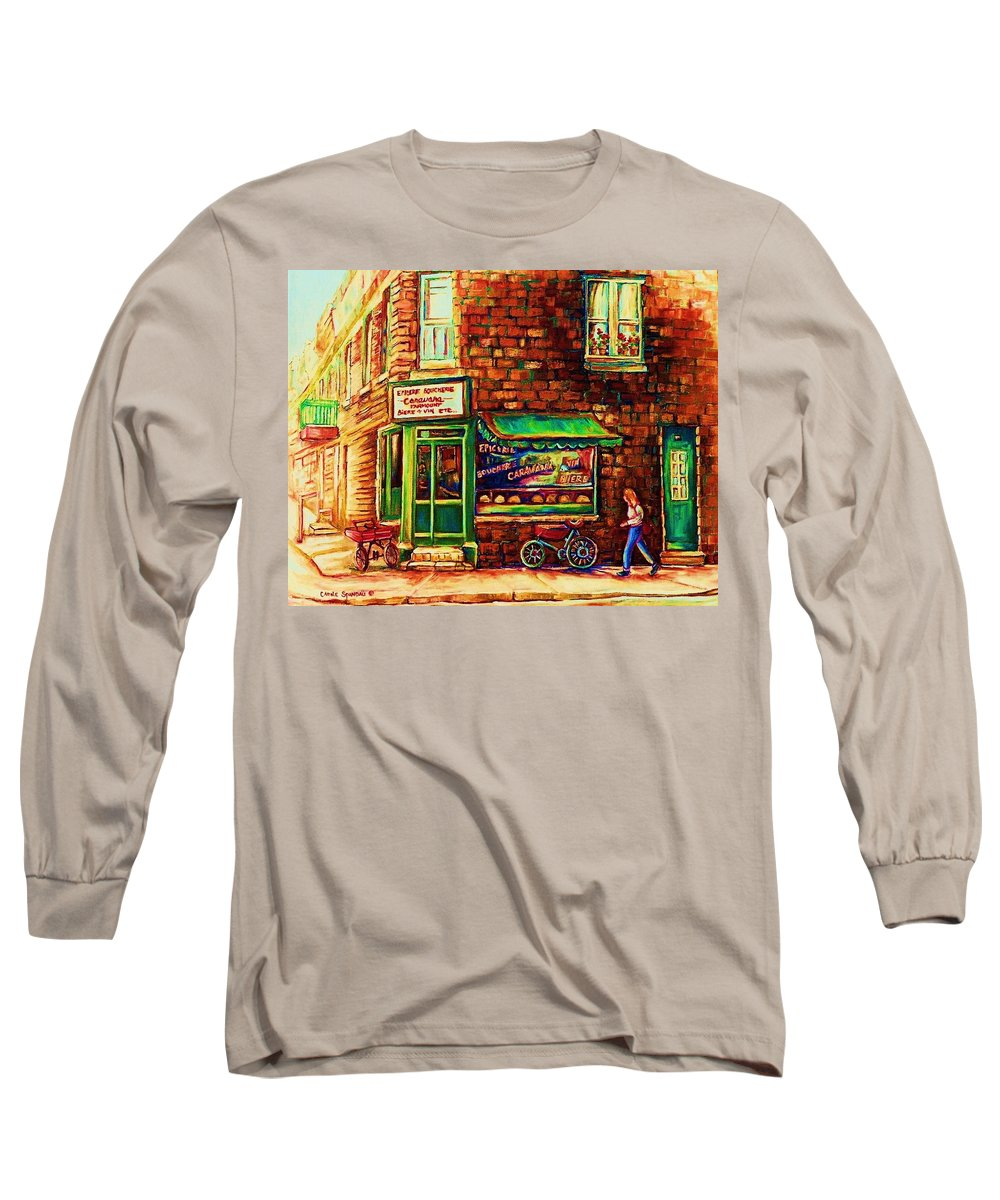 Montreal Long Sleeve T-Shirt featuring the painting The Little Red Wagon by Carole Spandau