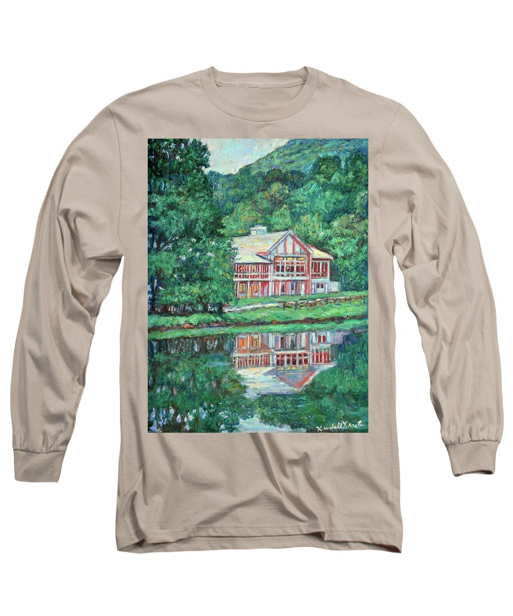 Lodge Paintings Long Sleeve T-Shirt featuring the painting The Lodge At Peaks Of Otter by Kendall Kessler