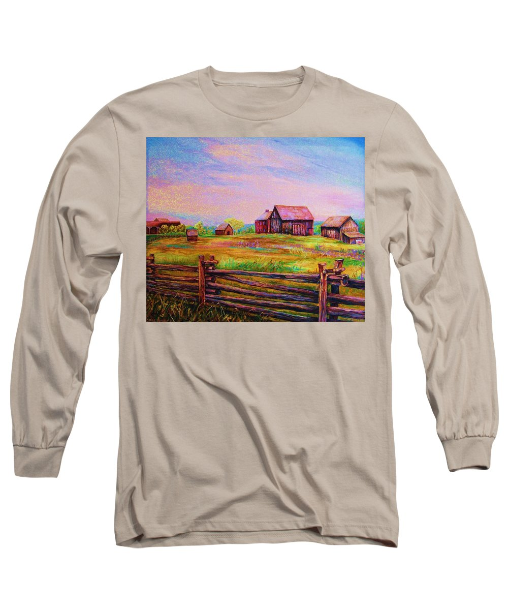 Ranches Long Sleeve T-Shirt featuring the painting The Log Fence by Carole Spandau