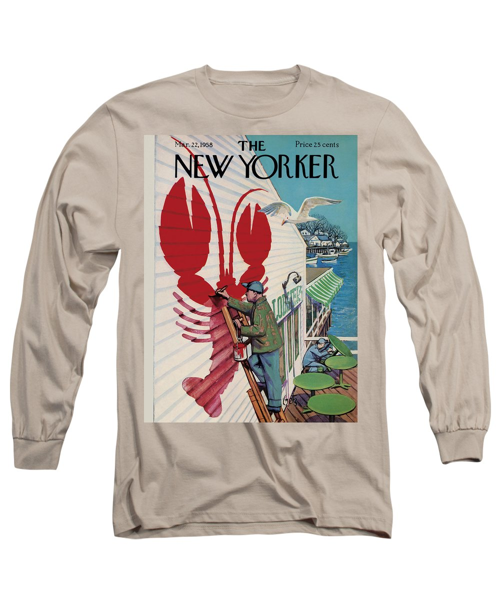 Food Long Sleeve T-Shirt featuring the painting New Yorker March 22, 1958 by Arthur Getz