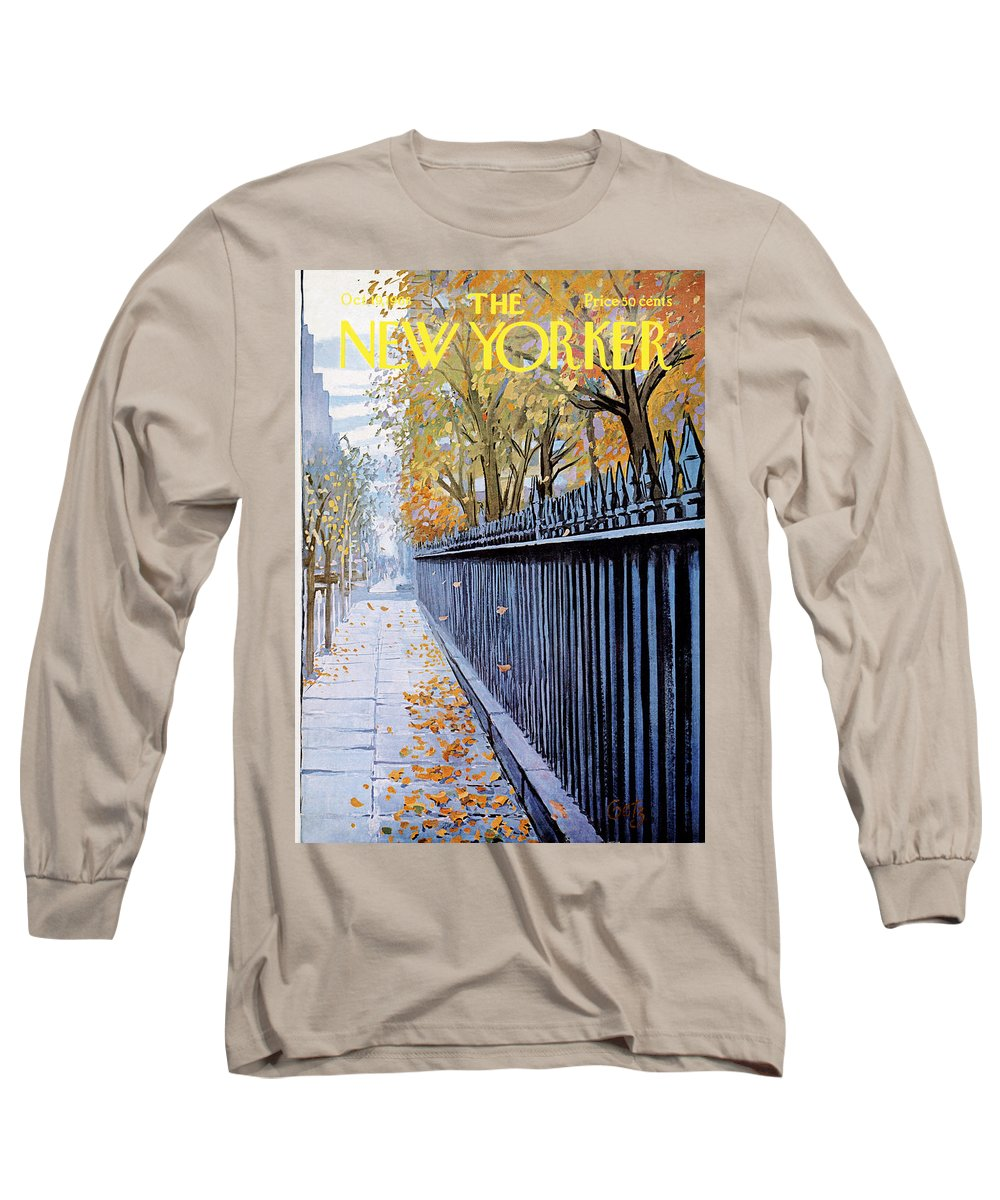 Season Long Sleeve T-Shirt featuring the painting New Yorker October 19, 1968 by Arthur Getz