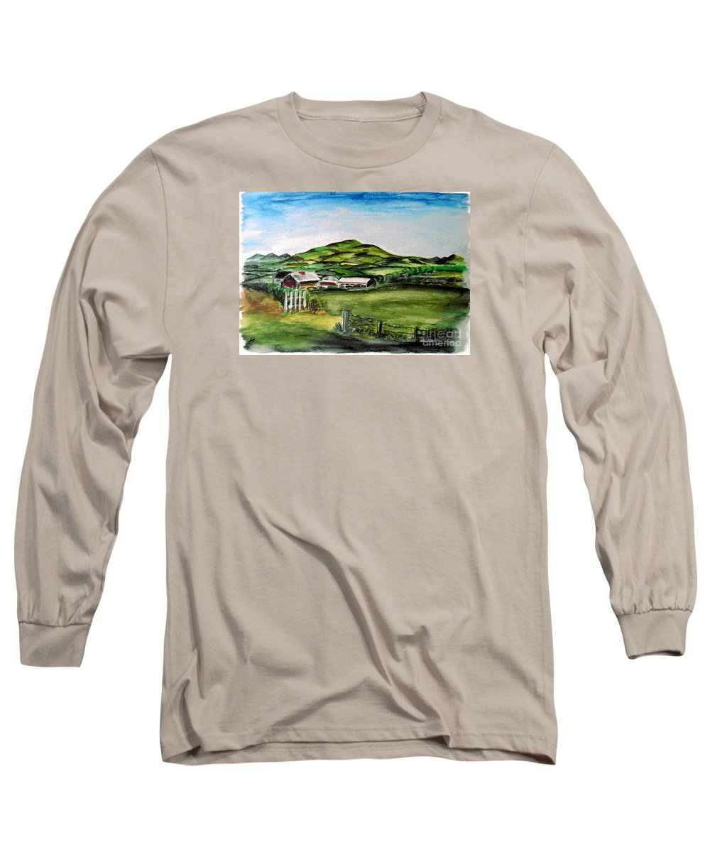 Landscape Long Sleeve T-Shirt featuring the painting The Old Farm by Alan Hogan
