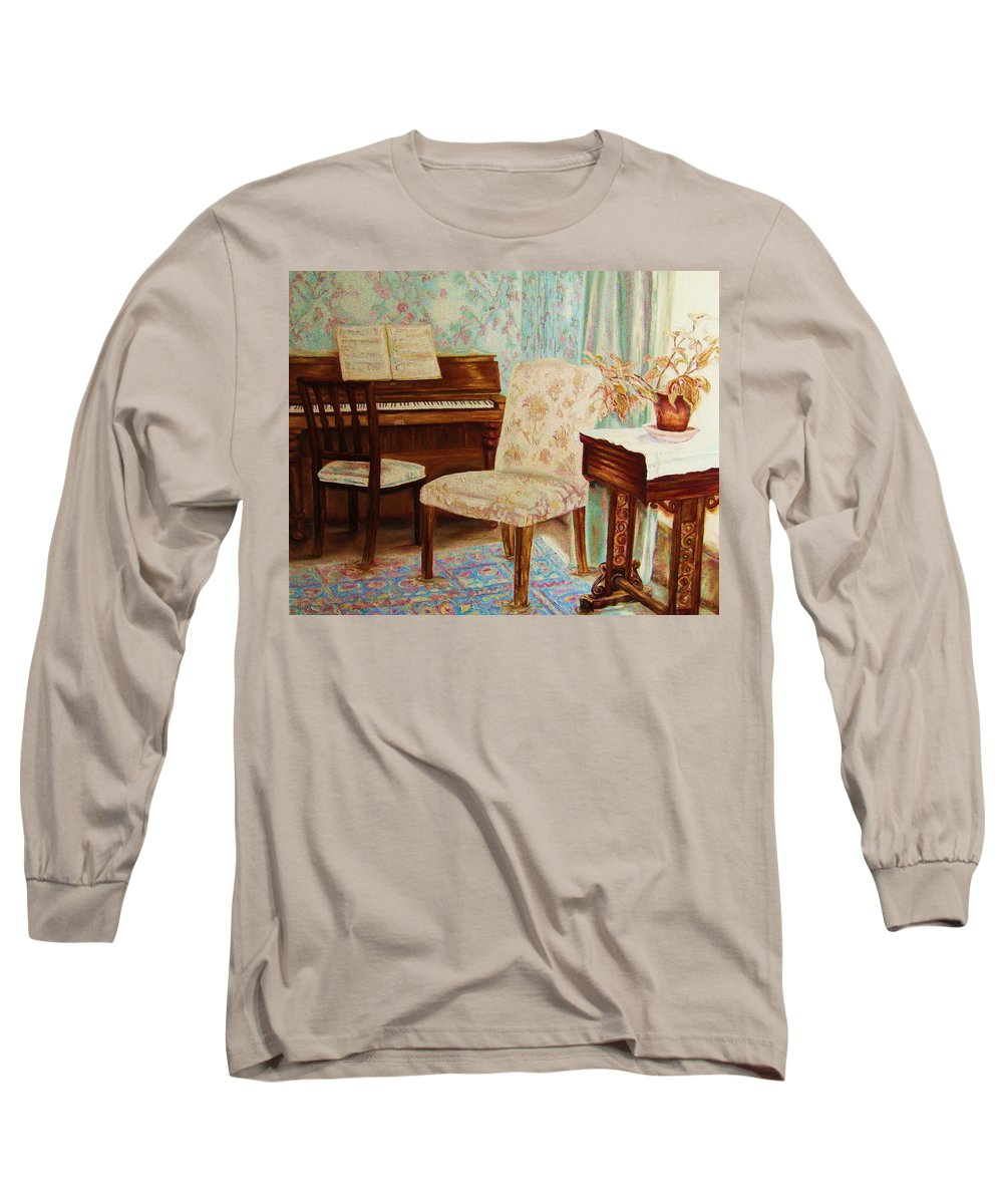Iimpressionism Long Sleeve T-Shirt featuring the painting The Piano Room by Carole Spandau