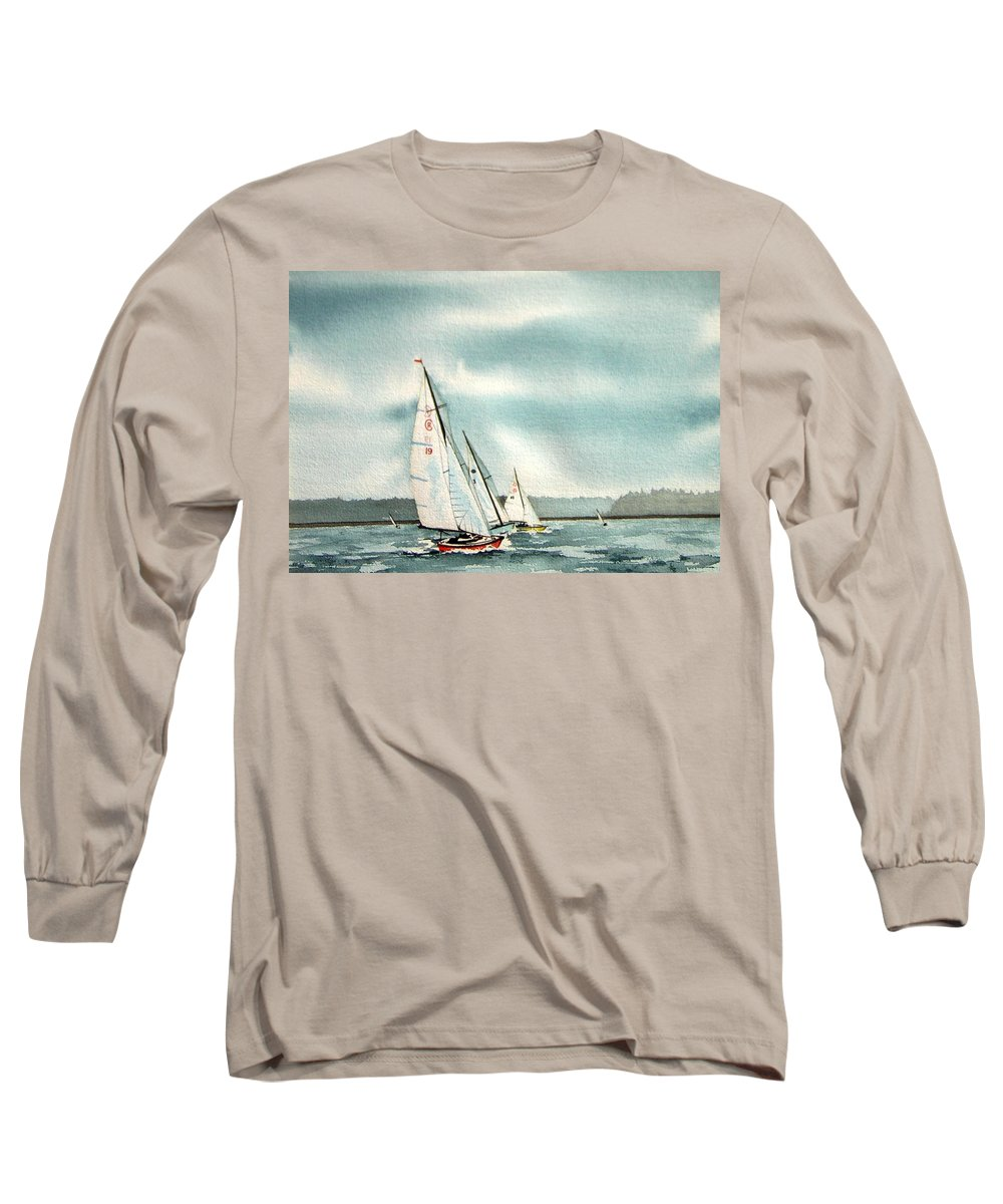 Sailing Long Sleeve T-Shirt featuring the painting The Race by Gale Cochran-Smith