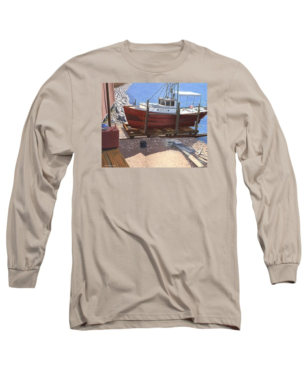 Fishing Boat Long Sleeve T-Shirt featuring the painting The Red Troller by Gary Giacomelli
