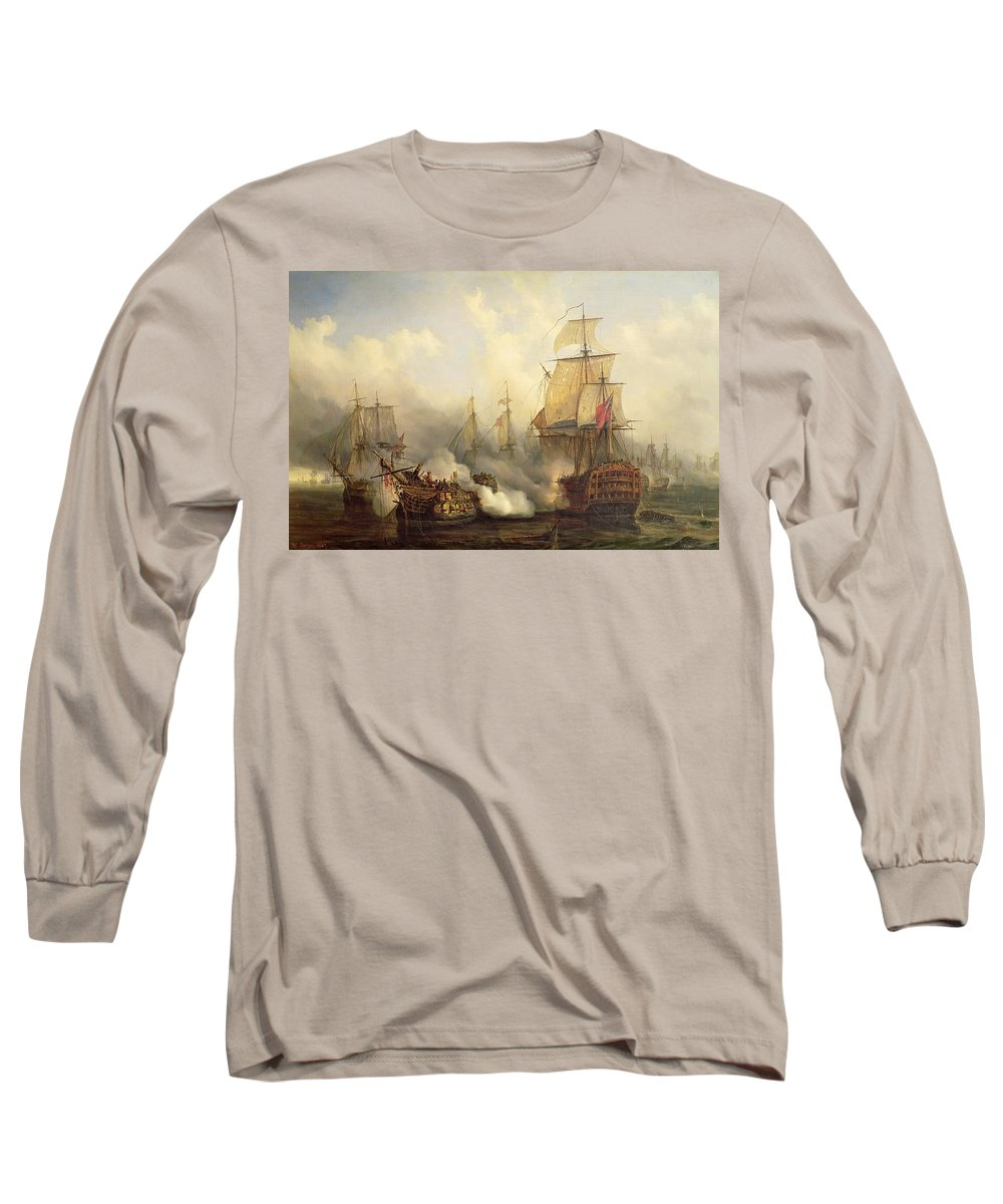 The Long Sleeve T-Shirt featuring the painting Unknown Title Sea Battle by Auguste Etienne Francois Mayer