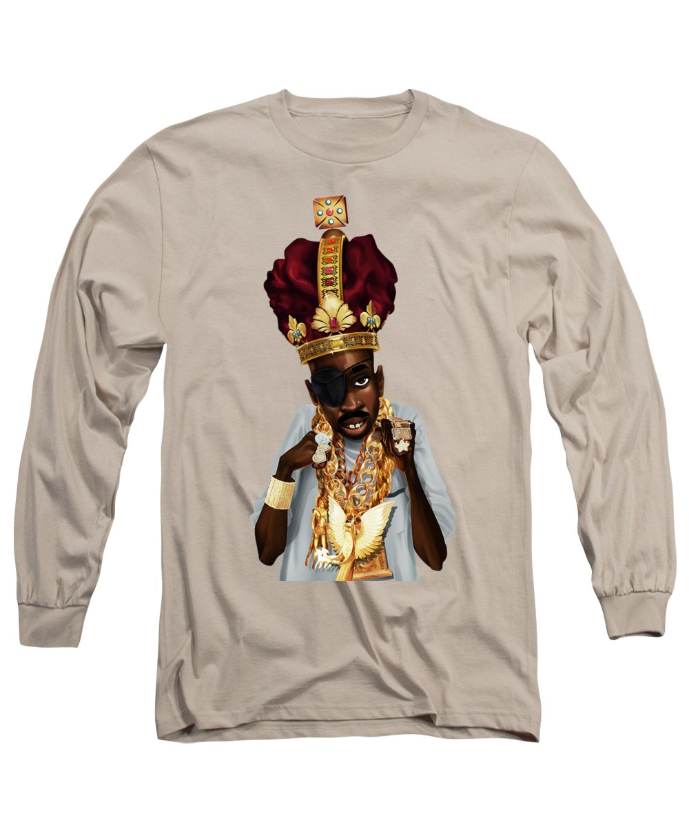 Slick Rick Long Sleeve T-Shirt featuring the drawing The Rula by Nelson Dedos Garcia