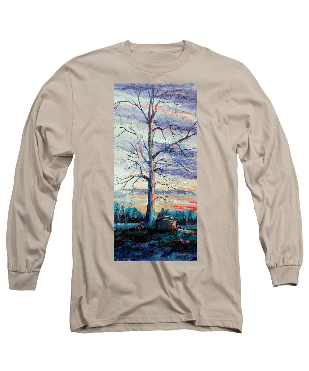 Lone Tree Long Sleeve T-Shirt featuring the painting The Sentinel by Ginger Concepcion
