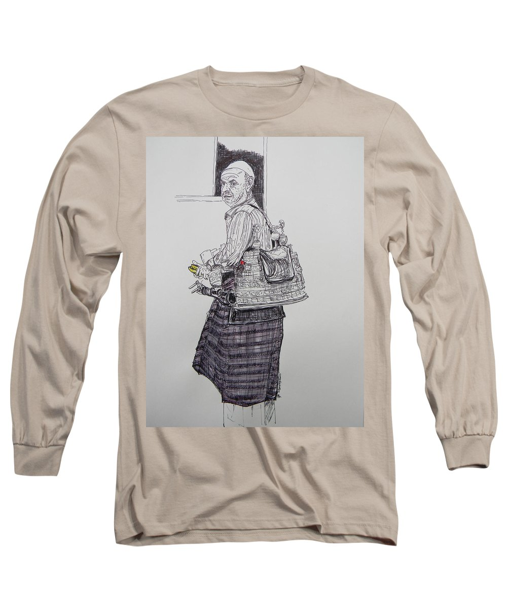 Tea Long Sleeve T-Shirt featuring the drawing The Tea Man The Souss Vendor by Marwan George Khoury