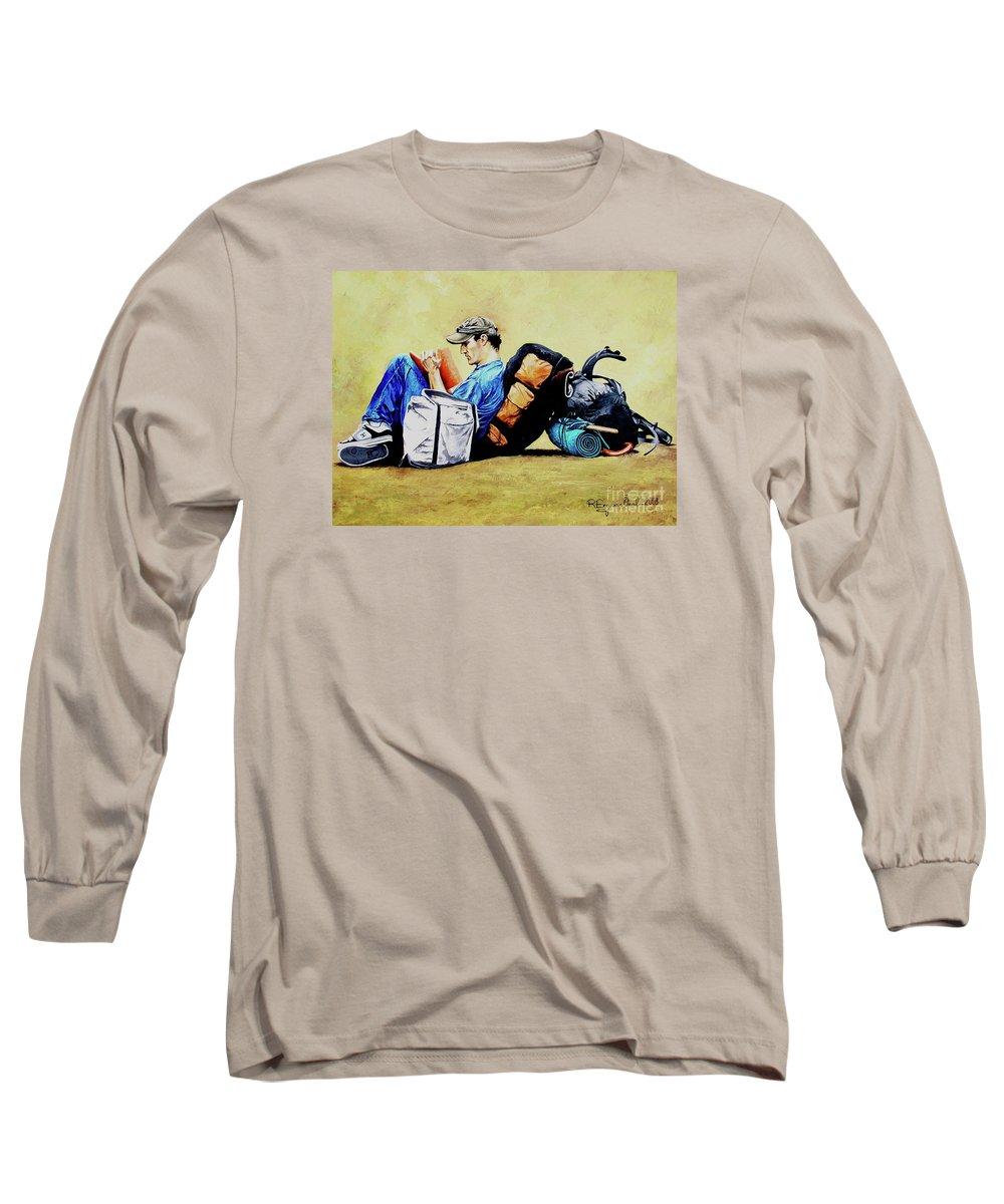 Travel Long Sleeve T-Shirt featuring the painting The Traveler 2 - El Viajero 2 by Rezzan Erguvan-Onal