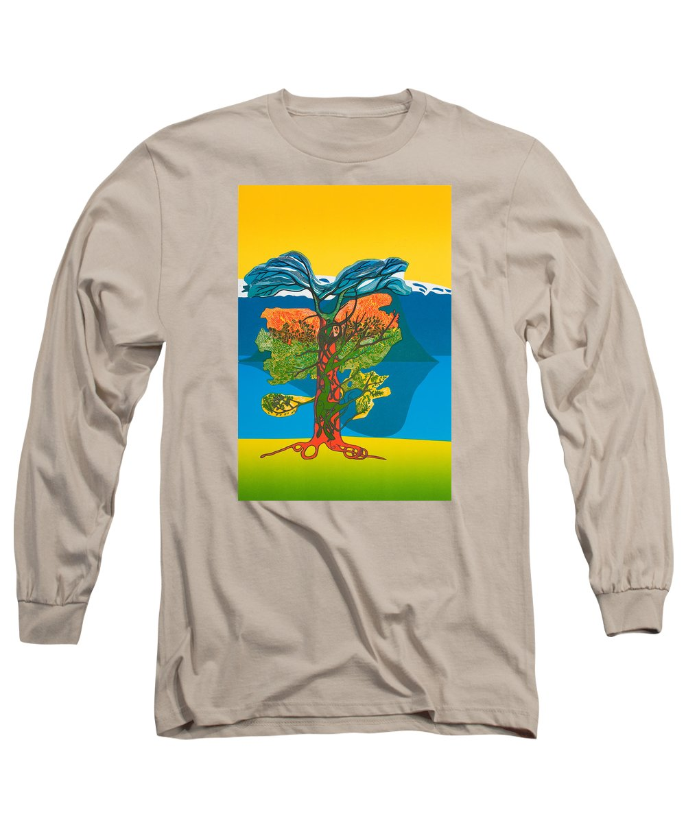 Landscape Long Sleeve T-Shirt featuring the mixed media The Tree Of Life. From The Viking Saga. by Jarle Rosseland