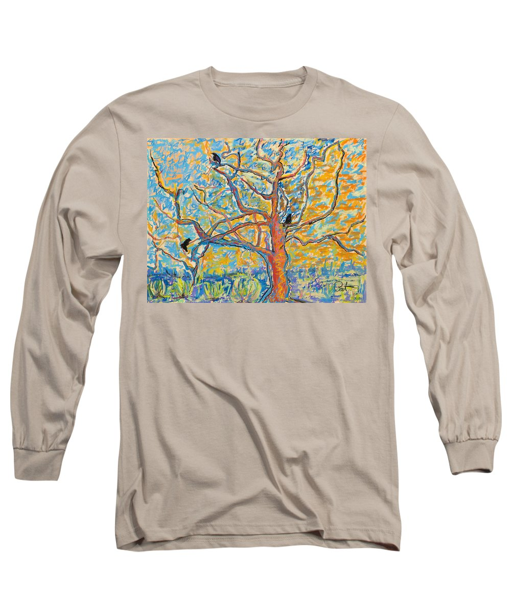 Abstract Painting Long Sleeve T-Shirt featuring the mixed media The Wind Dancers by Pat Saunders-White