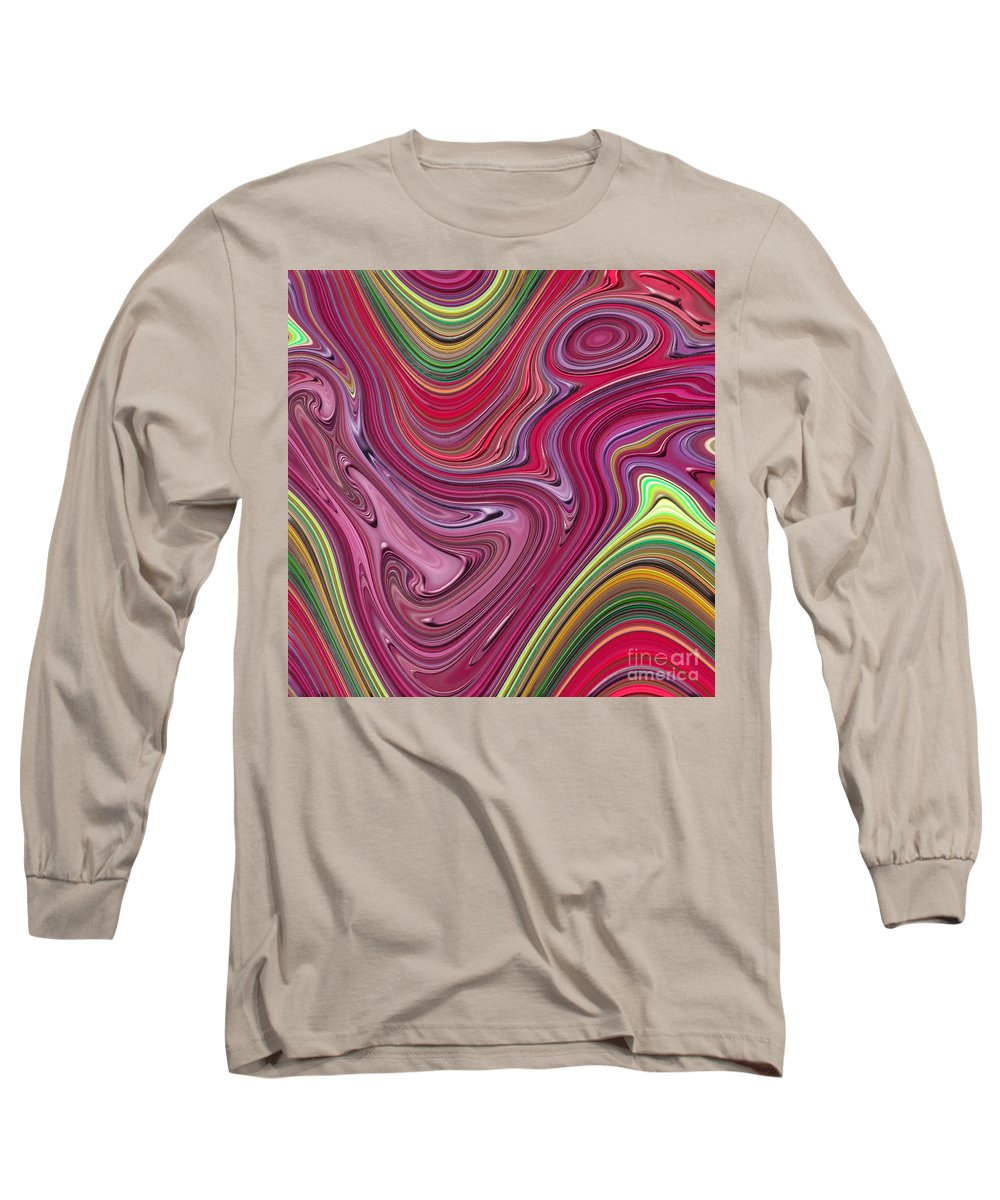 Colorful Long Sleeve T-Shirt featuring the digital art Thick Paint Abstract by Melissa A Benson