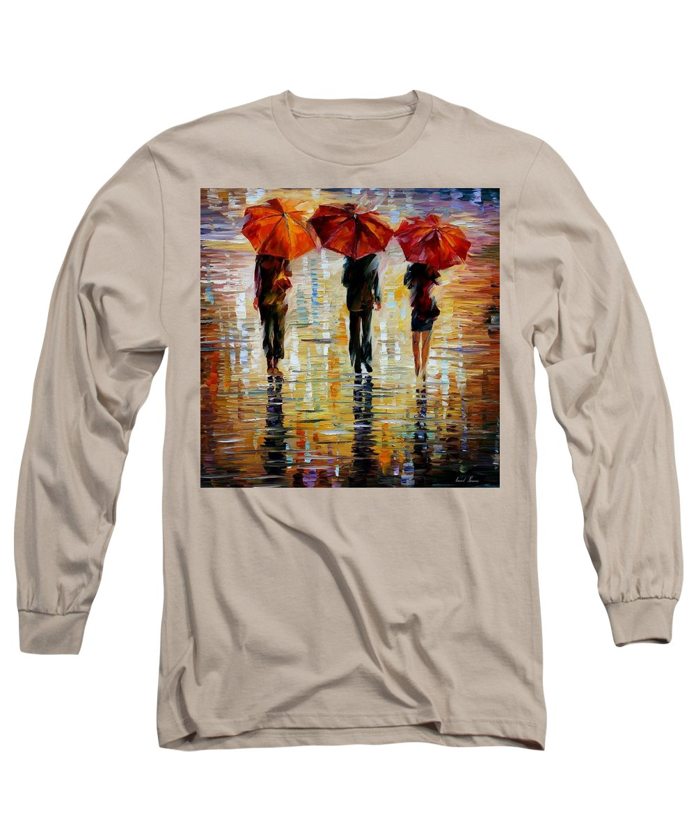 Cityscape Long Sleeve T-Shirt featuring the painting Three Red Umbrella by Leonid Afremov