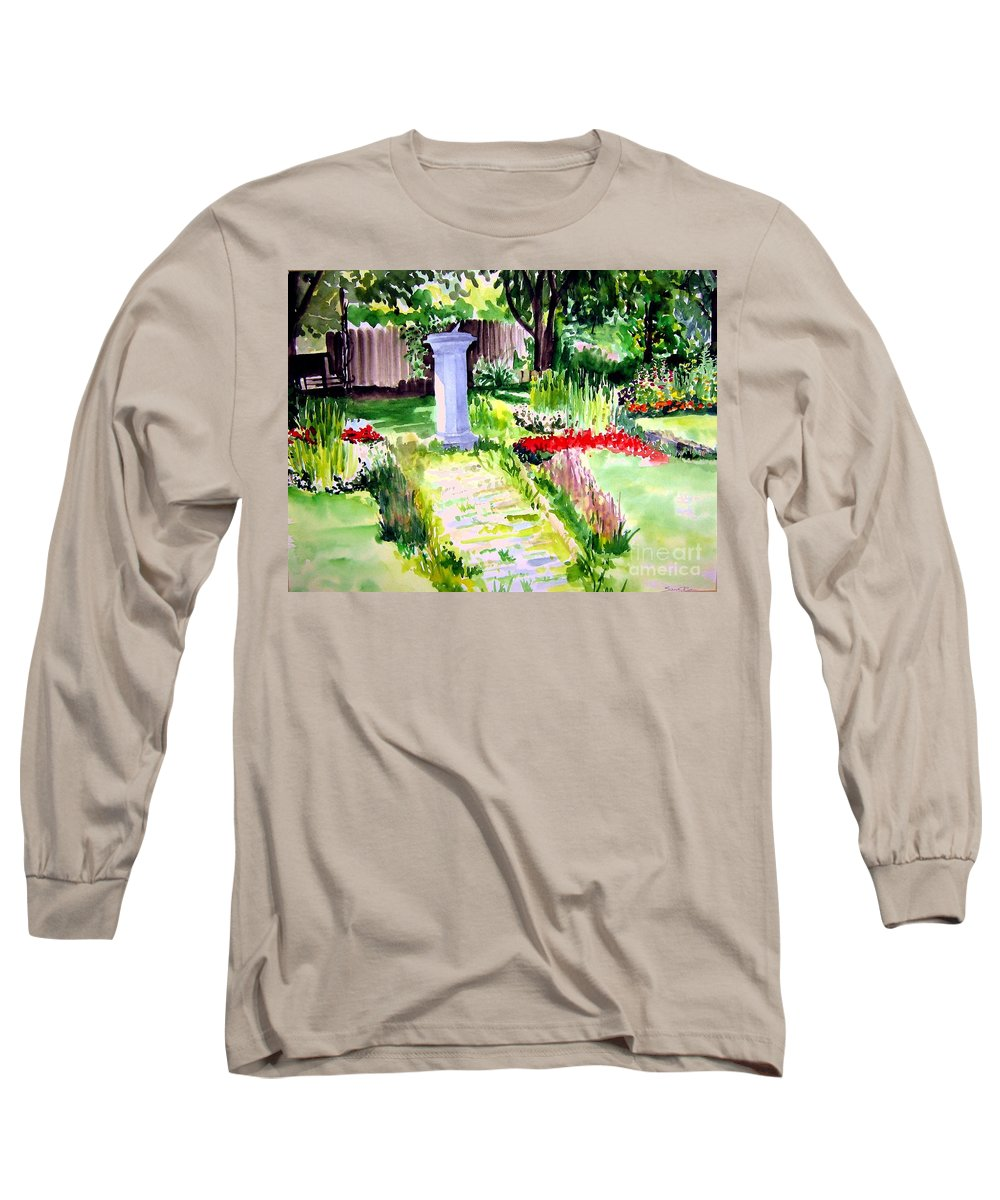Park Long Sleeve T-Shirt featuring the painting Time In A Garden by Sandy Ryan