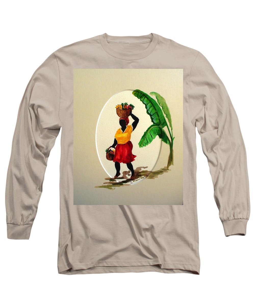 Caribbean Market Womanfruit & Veg Long Sleeve T-Shirt featuring the painting To Market by Karin Dawn Kelshall- Best