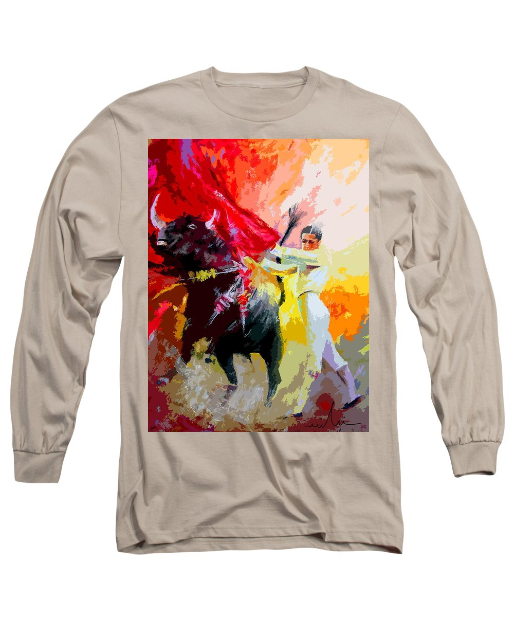 Animals Long Sleeve T-Shirt featuring the painting Toroscape 41 by Miki De Goodaboom
