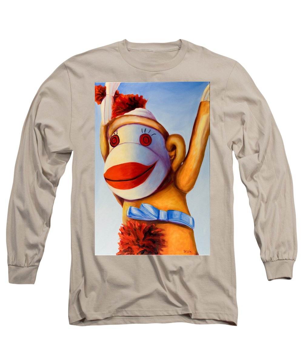 Children Long Sleeve T-Shirt featuring the painting Touchdown by Shannon Grissom