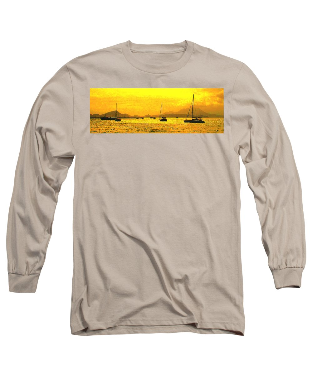 Basseterre Long Sleeve T-Shirt featuring the photograph Towards Nevis by Ian MacDonald