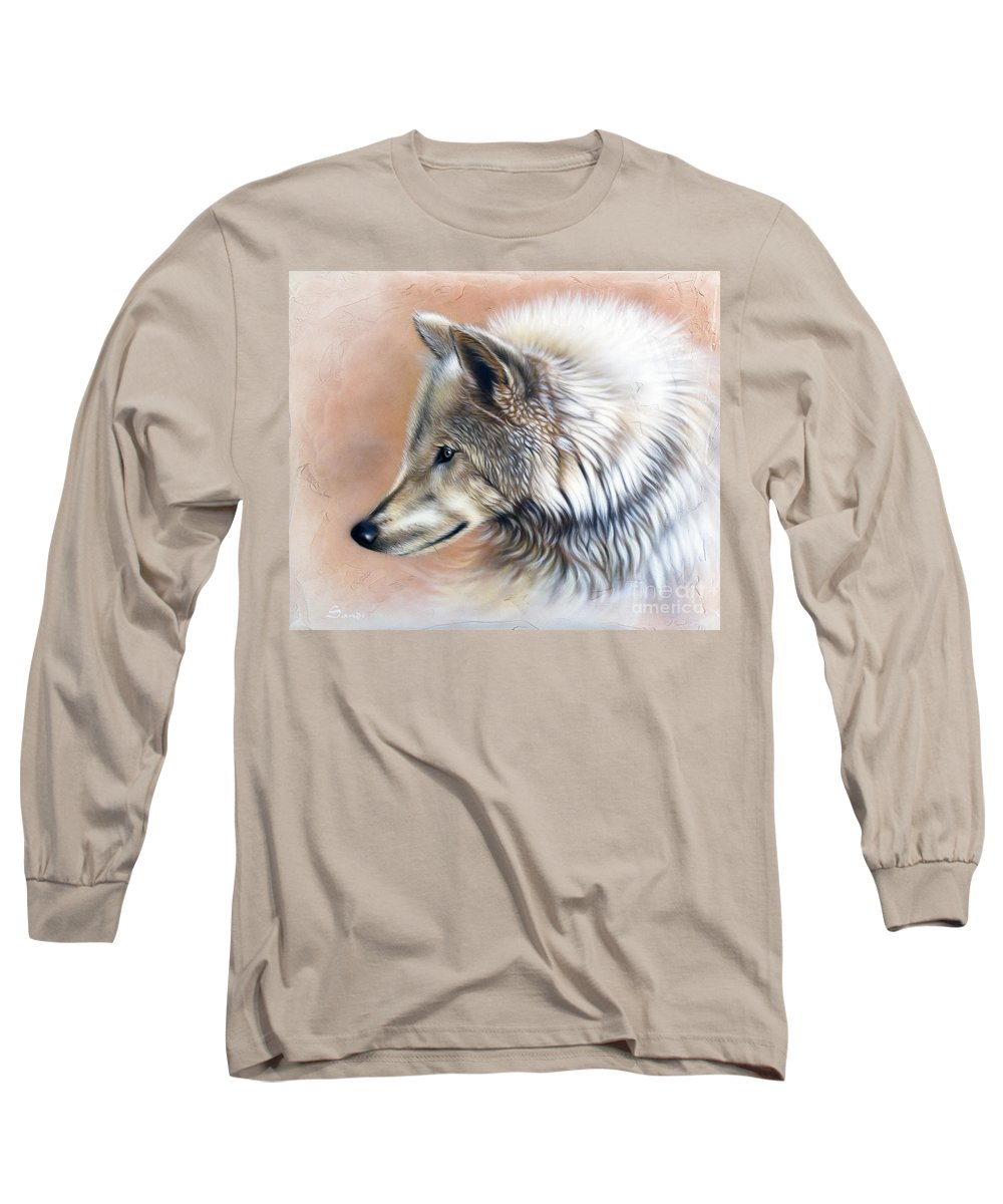 Wolves Long Sleeve T-Shirt featuring the painting Trace IIi by Sandi Baker
