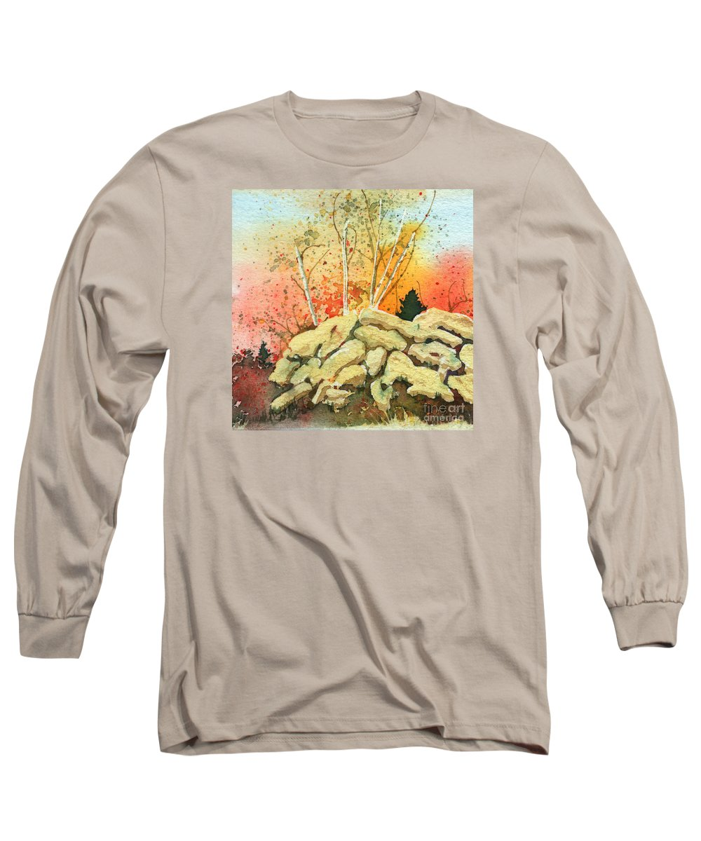 Landscape Long Sleeve T-Shirt featuring the painting Triptych Panel 2 by Lynn Quinn