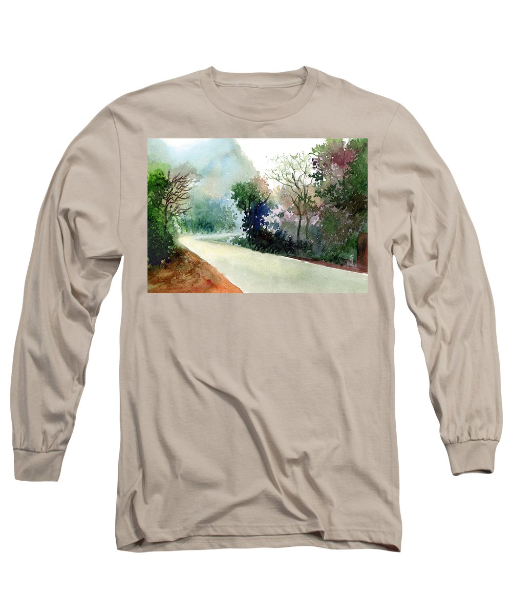 Landscape Water Color Nature Greenery Light Pathway Long Sleeve T-Shirt featuring the painting Turn Right by Anil Nene