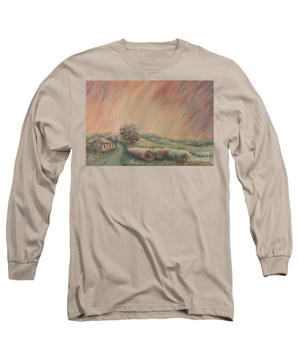 Landscape Long Sleeve T-Shirt featuring the painting Tuscany Hayfields by Nadine Rippelmeyer