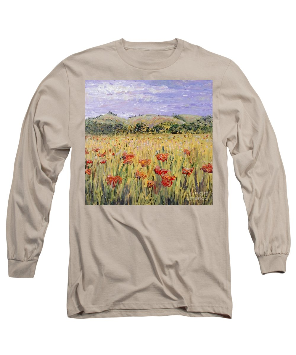 Poppies Long Sleeve T-Shirt featuring the painting Tuscany Poppies by Nadine Rippelmeyer