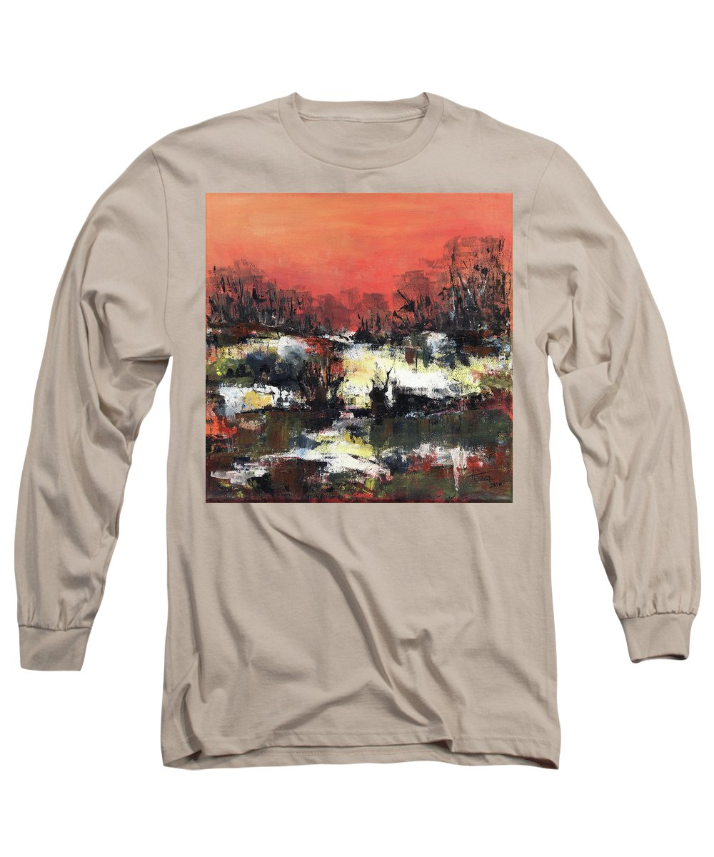 Abstract Long Sleeve T-Shirt featuring the painting Twilight Madness by Aniko Hencz