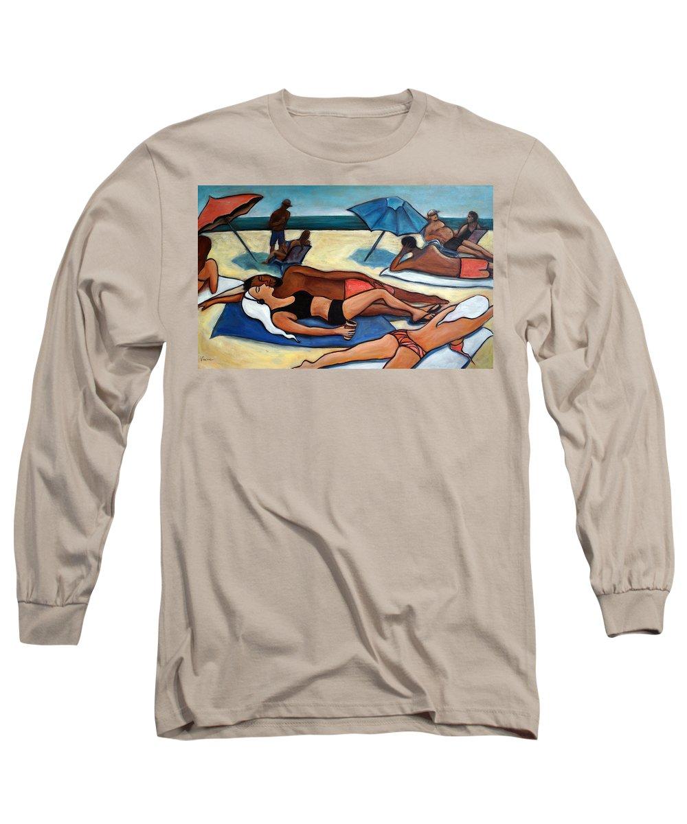 Beach Scene Long Sleeve T-Shirt featuring the painting Un Journee A La Plage by Valerie Vescovi