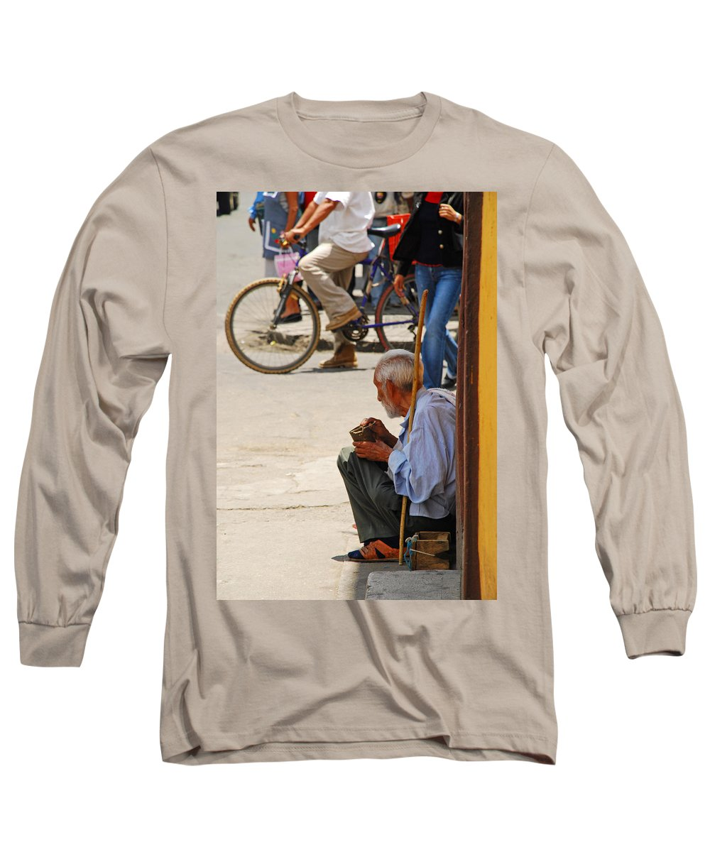 Beggar Long Sleeve T-Shirt featuring the photograph Un Peso Por Favor by Skip Hunt