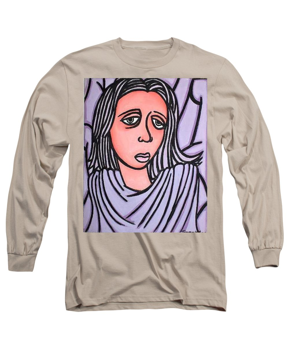 Portrait Long Sleeve T-Shirt featuring the painting Unknown by Thomas Valentine