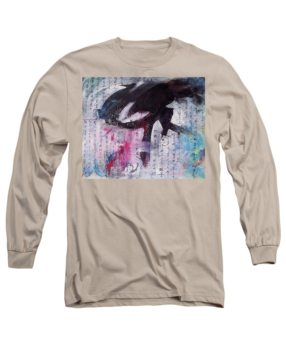 Peom Paintings Paintings Long Sleeve T-Shirt featuring the painting Unread Poem Black And White Paintings by Seon-Jeong Kim