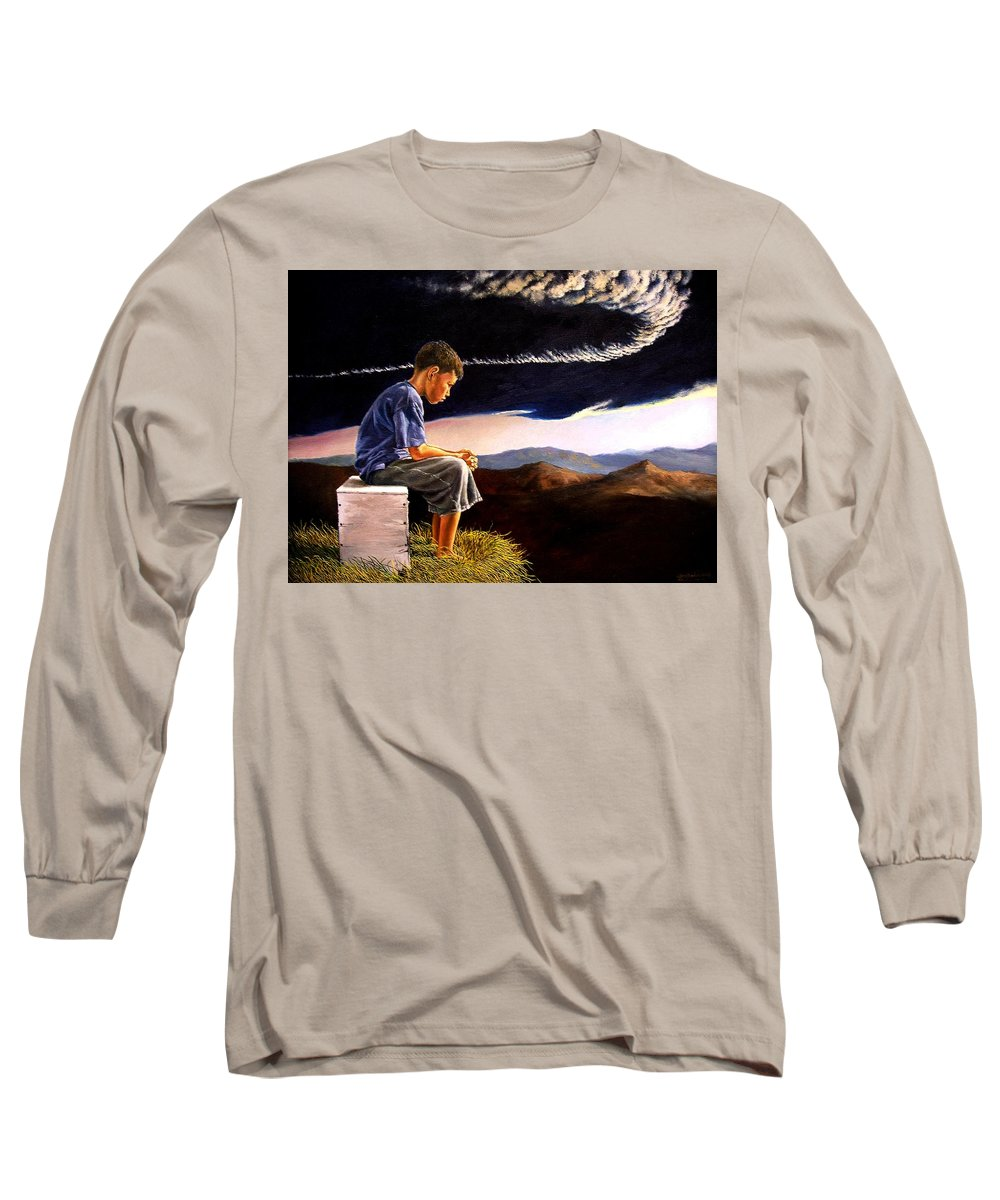 Mountain Long Sleeve T-Shirt featuring the painting Unscarred Mountain by Christopher Shellhammer