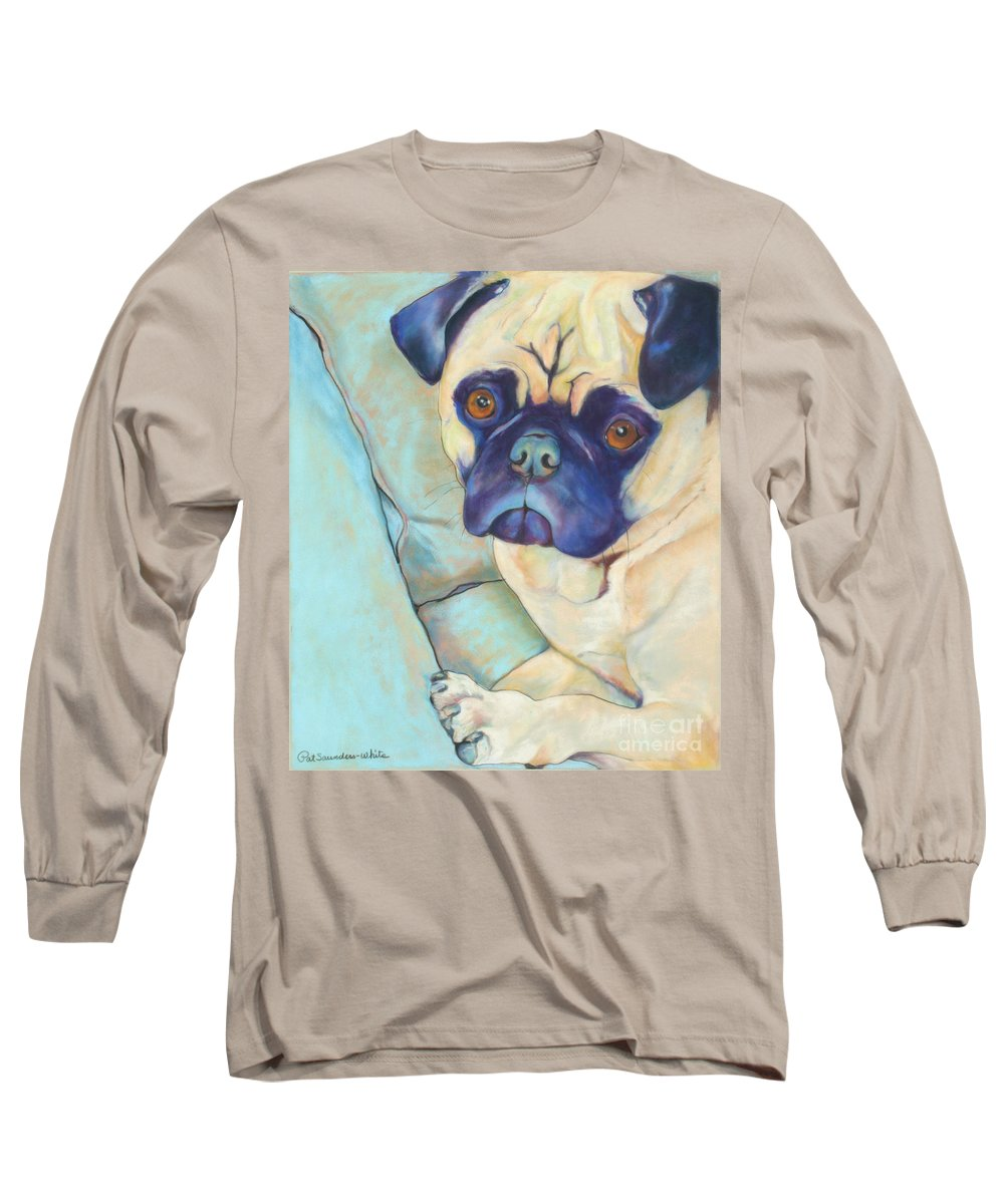 Pug Long Sleeve T-Shirt featuring the pastel Valentino by Pat Saunders-White