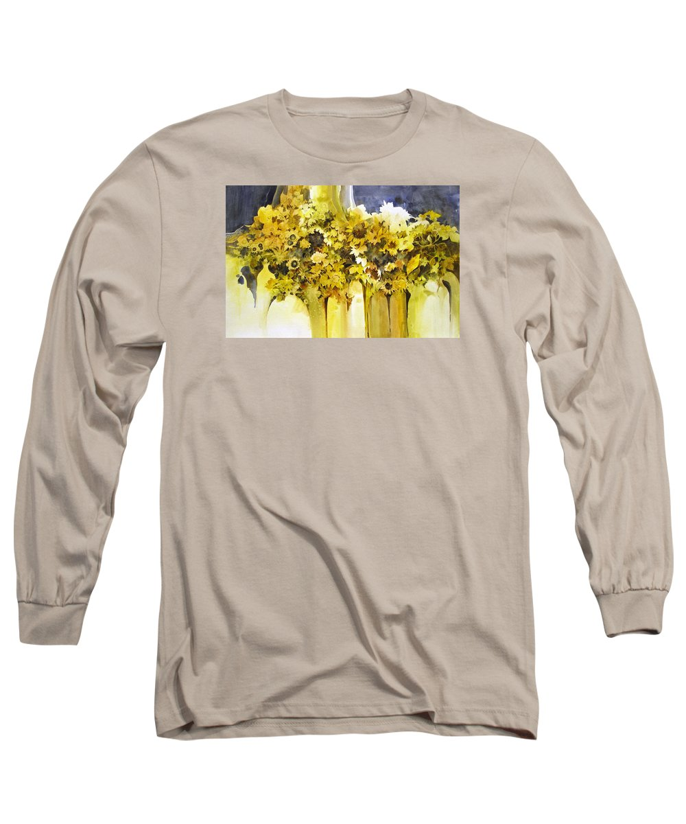 Yellow Flowers;sunflowers;vases;floral;contemporary Floral; Long Sleeve T-Shirt featuring the painting Vases Full Of Blooms  by Lois Mountz