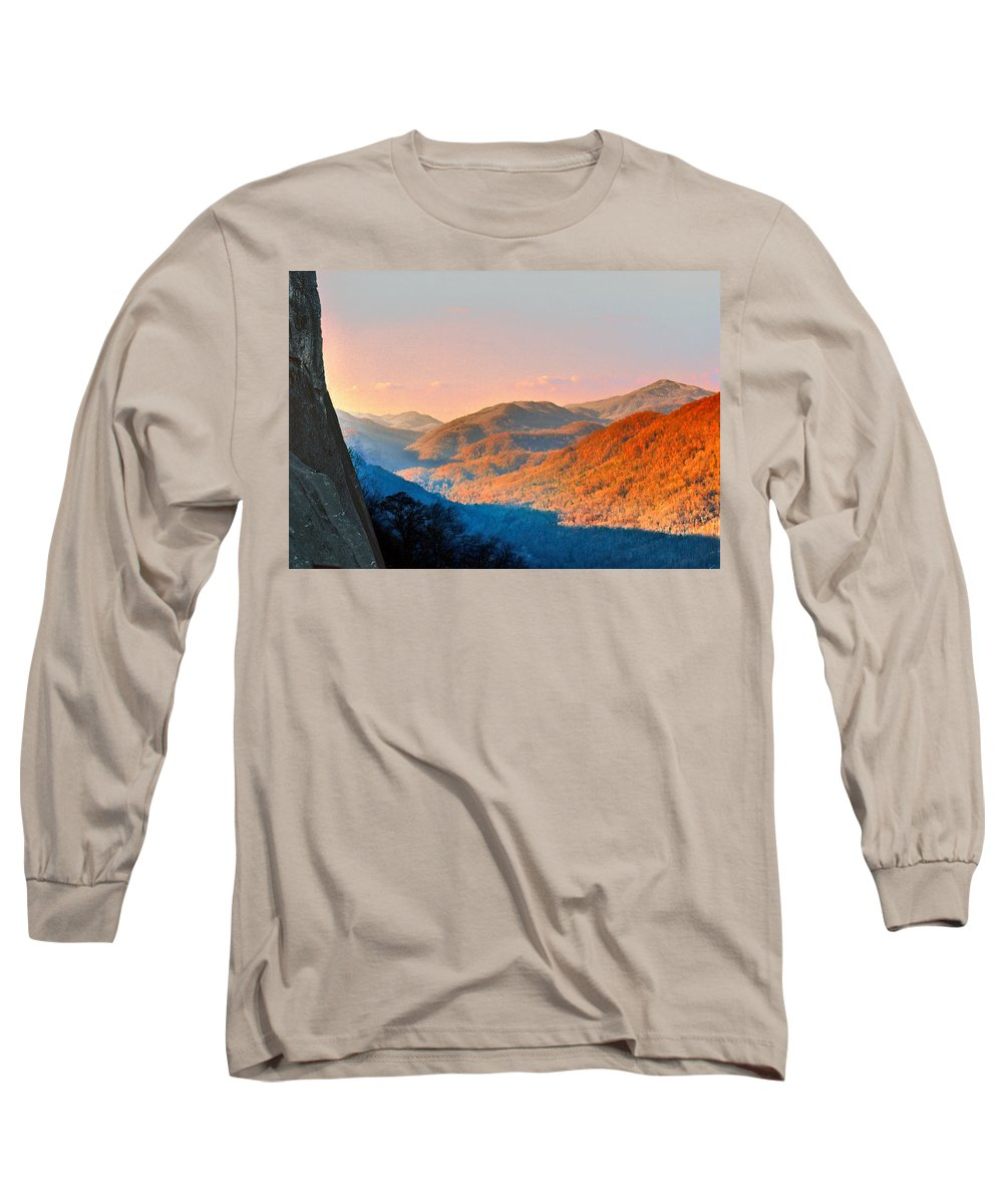 Landscape Long Sleeve T-Shirt featuring the photograph View From Chimney Rock-north Carolina by Steve Karol