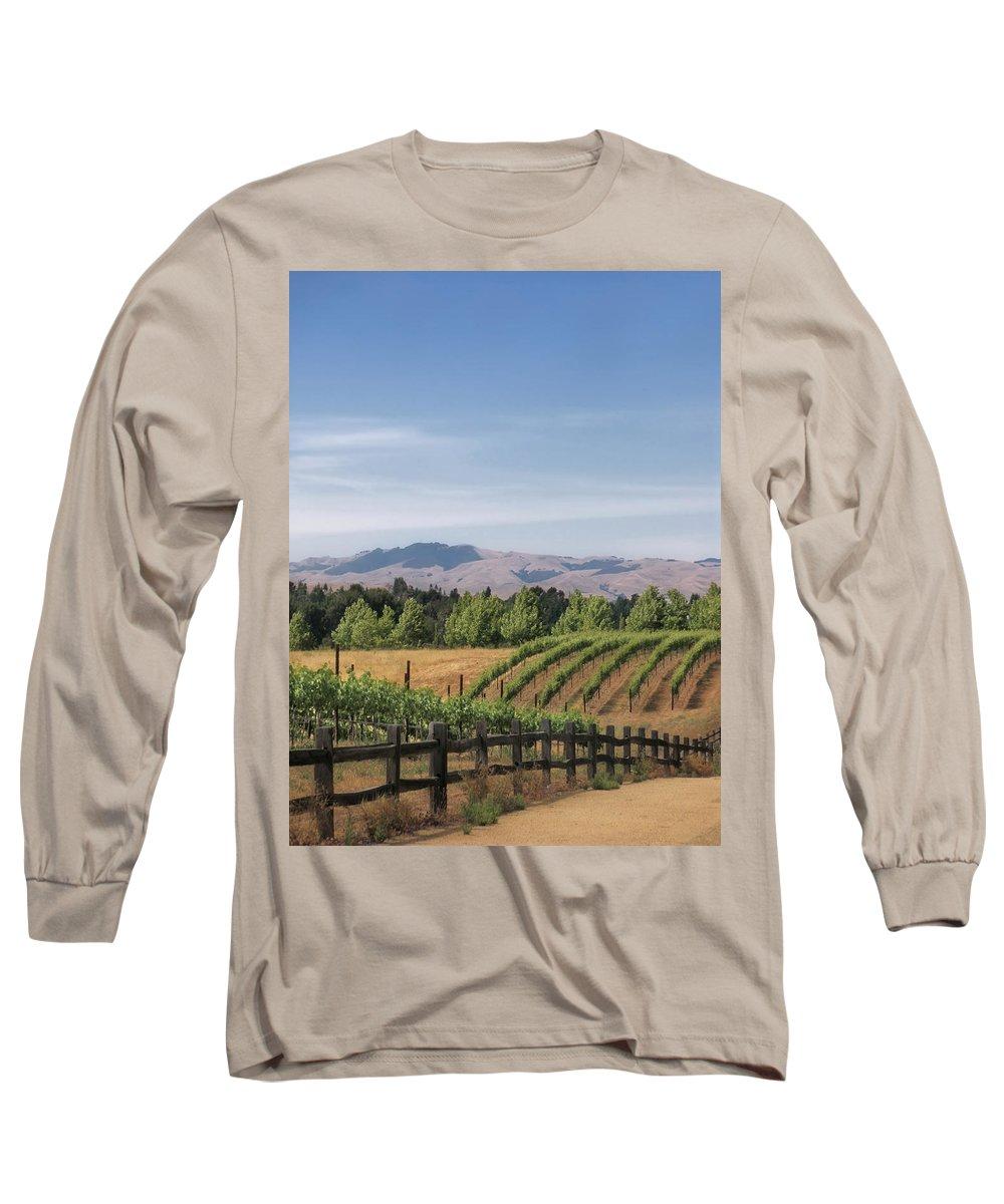 Landscapes Long Sleeve T-Shirt featuring the photograph Vineyard by Karen W Meyer