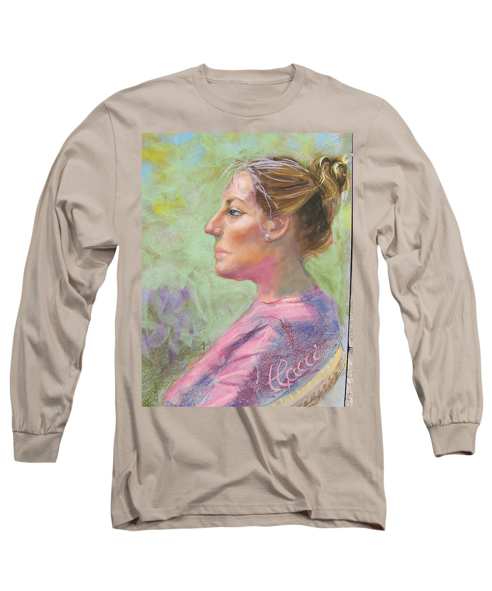 Portrait Long Sleeve T-Shirt featuring the painting Virginia by Laurie Paci